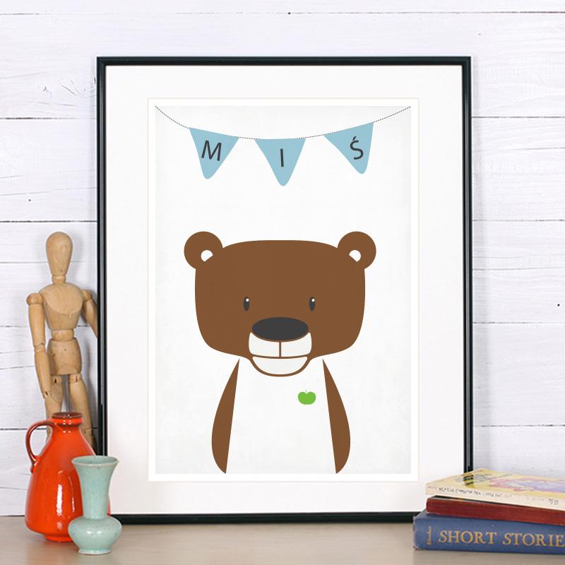 Plakat Do Pokoju Dziecka Miś Zwierzęta