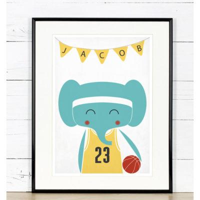 słoń koszykówka grafika do pokoju chłopca A