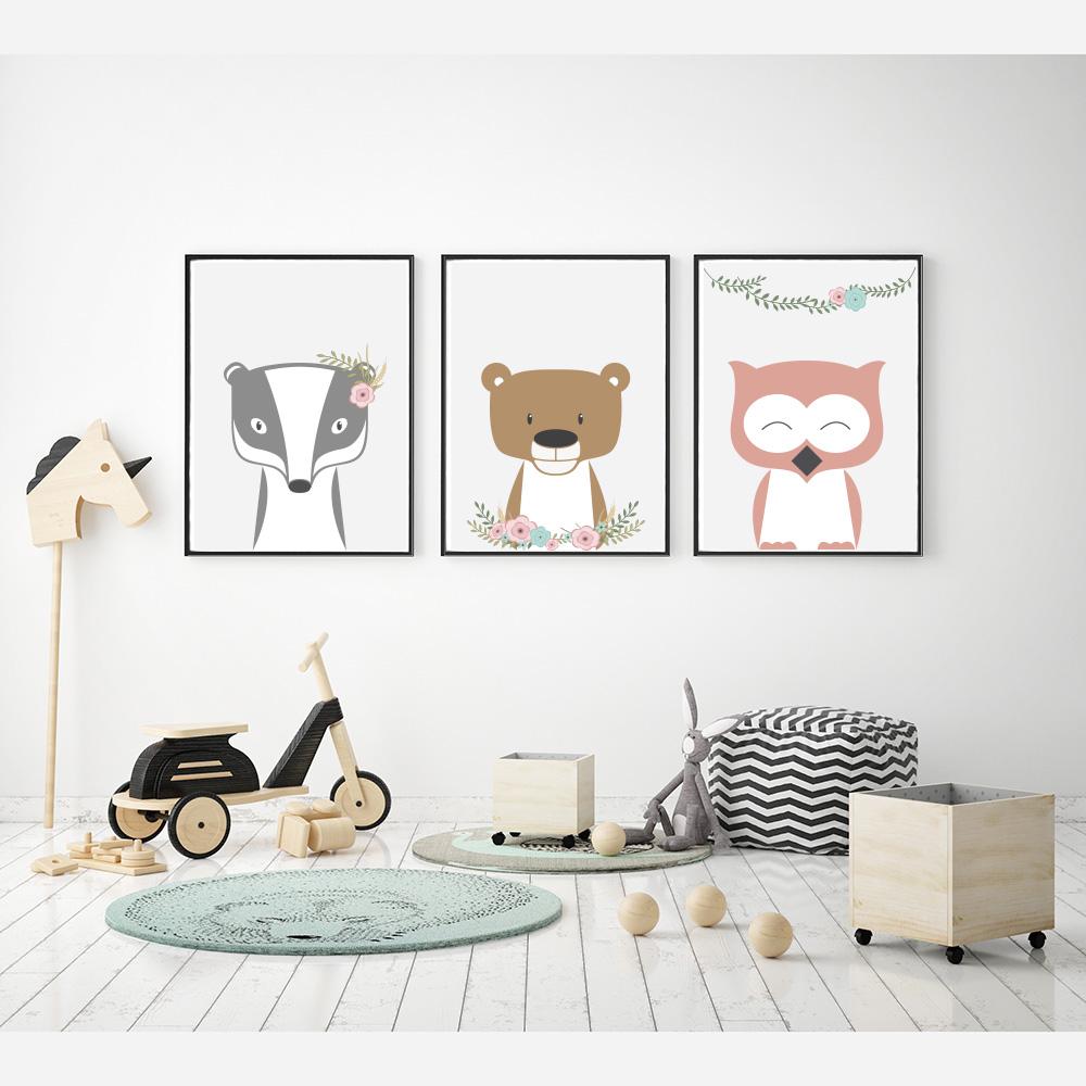 Plakaty Do Pokoju Dziecka Zwierzęta Z Kwiatami Ii